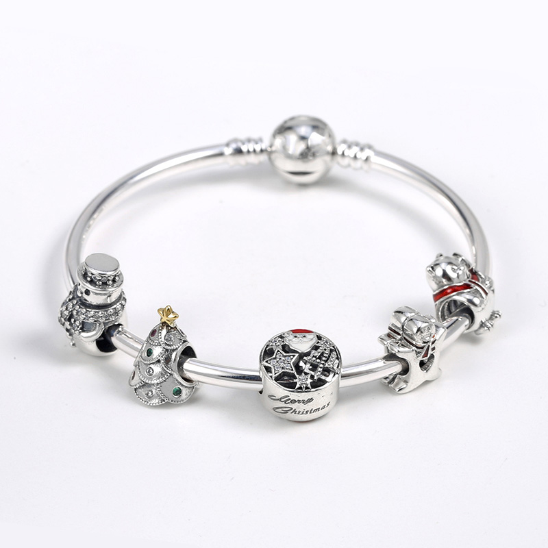 925 Sterling Silver Moments Bracelet Christmas Tree Snowman Happy Christmas Set Bracelet Fit Women Bangle Bead Charm DIY Jewelry925 Sterling Silver Moments Bracelet Christmas Tree Snowman Happy Christmas Set Bracelet Fit Women Bangle Bead Charm DIY Jewelry