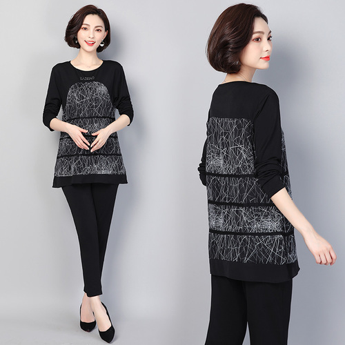 Plus Size 5xl Age Reduction Two Piece Set Top And Pants Elegant Fashion Ensemble Femme Survetement Wild Thin Clothes For Women