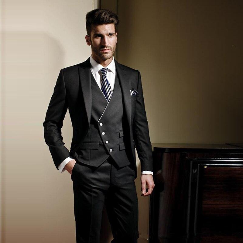 Куртки + брюки свадебные гром наборы костюм тонкий подходят смокинг формальные платье костюм пиджак мужской мод жених износ костюм для мужчин