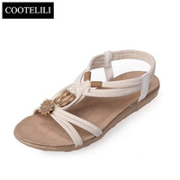 COOTELILI 36 40 Plus Size Woman Shoes Bohemian Metal Decoration Toe Shoes Flat Sandals Summer Beach