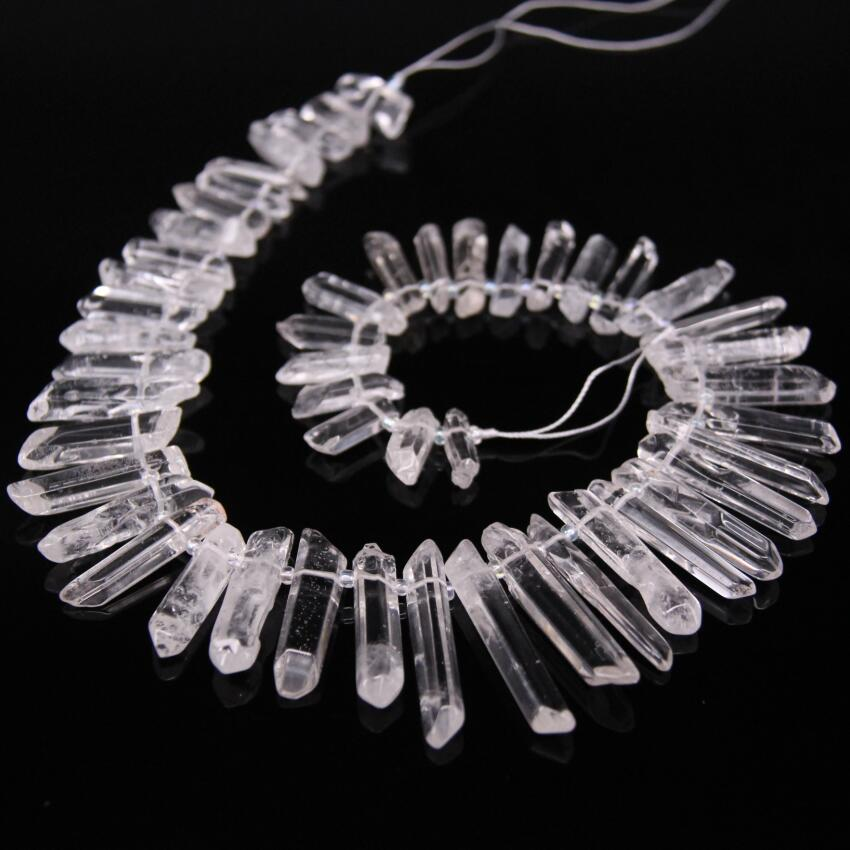 Reliable 15.5strand Top Drilled Polished Clear Crystal Point Loose Beads,raw Crystal Quartz Graduated Stick Pendants Jewelry Supplies Beads & Jewelry Making