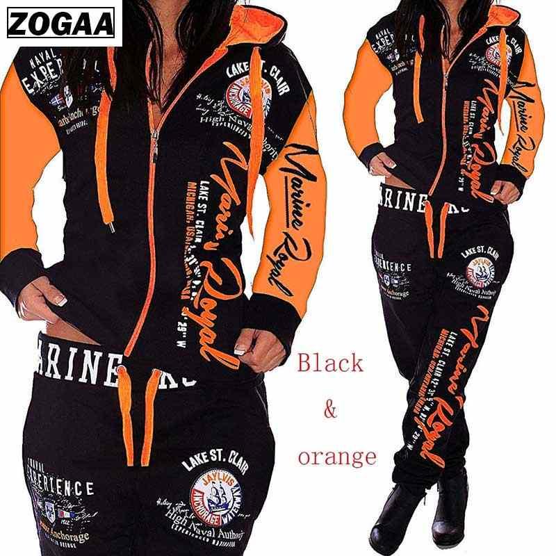 ZOGAA ماركة الربيع رياضية قطعتين مجموعة النساء عرق 2 قطعة مطابقة مجموعة عرق بدلات رياضية مخملية العداء البدلة مجموعات الملابس
