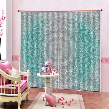 Luxury Blackout 3D Window Curtains For Living Room green pattern curtains for bedroom Blackout curtain