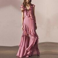 2018 Vintage V neck Layer Ruffles Chiffon Pleated Maxi Dress For Women Summer Elegant Pink Slim Long Party Dresses Vestidos