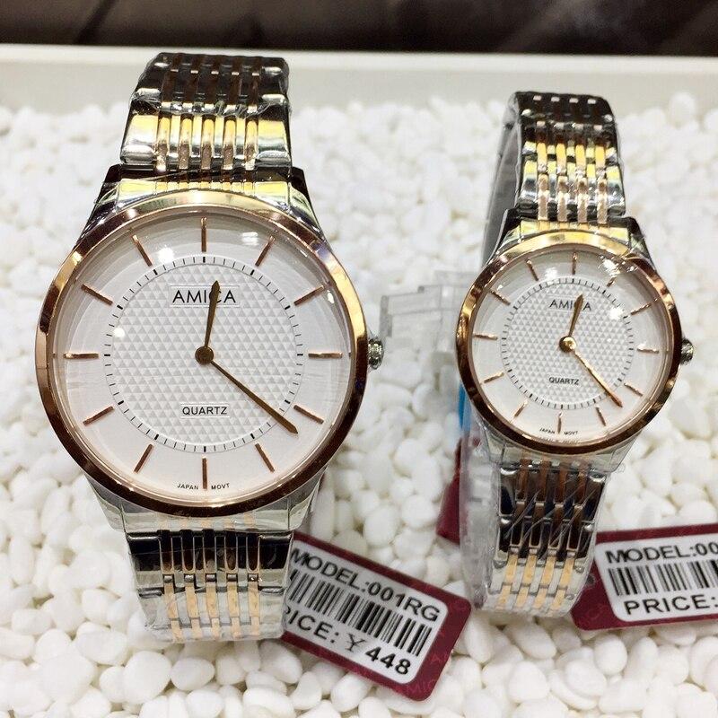 AMICA 2019 Новый Элитный бренд мода полный сталь любителей водостойкие кварцевые часы делового человека наручные часы (мужские часы + женские ча