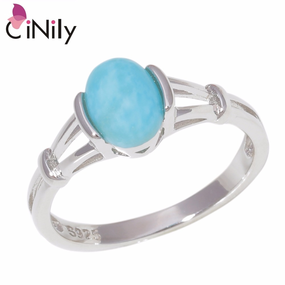 CiNily Natural Larimar Solid 925 Sterling Silver Wholesale Top Quality Latesst Twilight Bella Women Jewelry Ring Sz 6-10 SR010