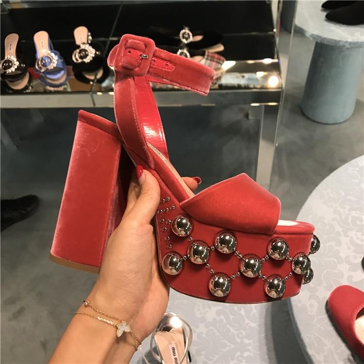 as En Sandales Pic Cuir Femme Rivet Pic Summer As 2018 Chaussures Carré Haute Hot Tipe Partie Élégant Talons Peeptoe Conception Super AxqXIcH