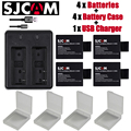 Nuevo 4 unids sjcam sj4000 eken h9 git-lb101 batería git sj5000 sj6000 sj7000 sj8000 sj9000 batería + cargador doble usb