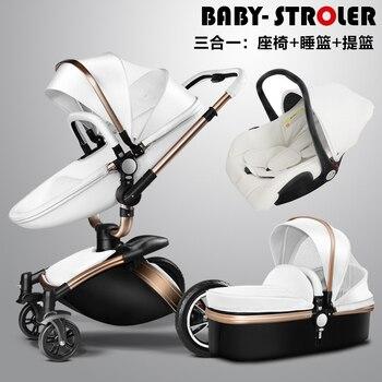 Бренд детские коляски 3 в 1 standard ЕС малолитражного автомобиля детские коляски 0-36 месяцев использования кожи высокого качества 4 цвета