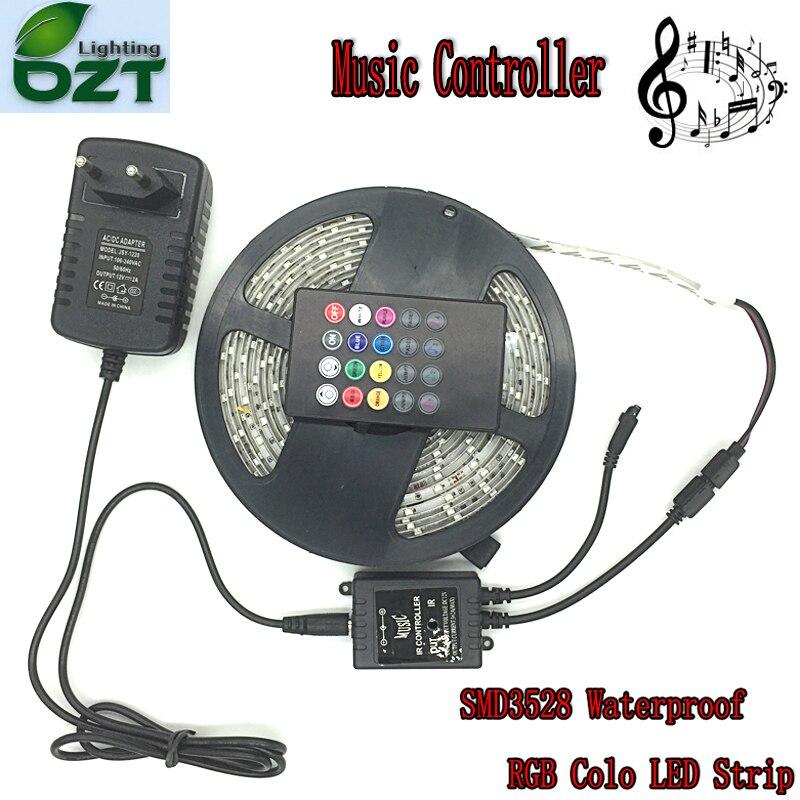 Étanche RGB LED Bande 5 m 300 Leds SMD3528 Musique Contrôleur 12 v 2A Adaptateur Éclairage Flexible Led Bande décoration de la maison Lampes