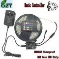 RGB LED Strip 5 M 300 Leds SMD3528 à prova d' água Música Controlador 12 V 2A Luz Flexível Adaptador Fita Levou Lâmpadas de Decoração para casa