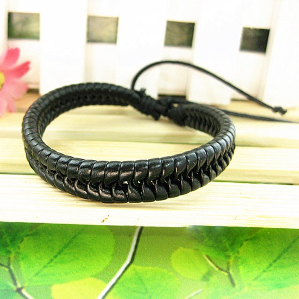Korean Style Fashion Men And Women Braided Leather Cord Bracelet Color Black Brown Drop Shipping