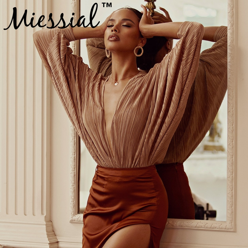 177dc0ce34b8 Miessial Deep v neck sexy bodysuit Women long sleeve pleated short jumpsuit  romper Summer female elegant party jump suit overall