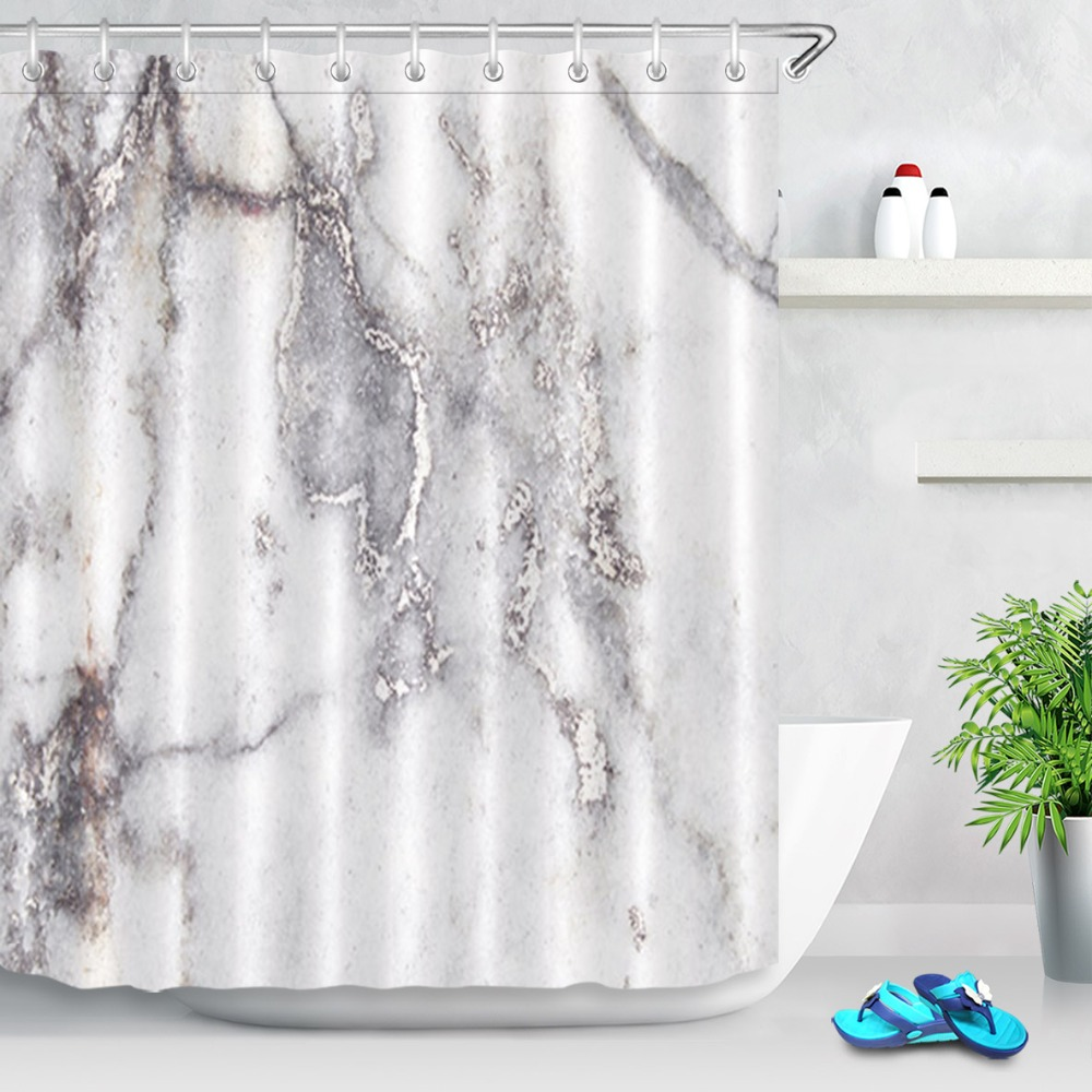 LB Grey White Marble Shower Curtain Waterproof Polyester Eco Friendly Bath Fabric Bathroom Home Decor Hooks Set In Curtains From