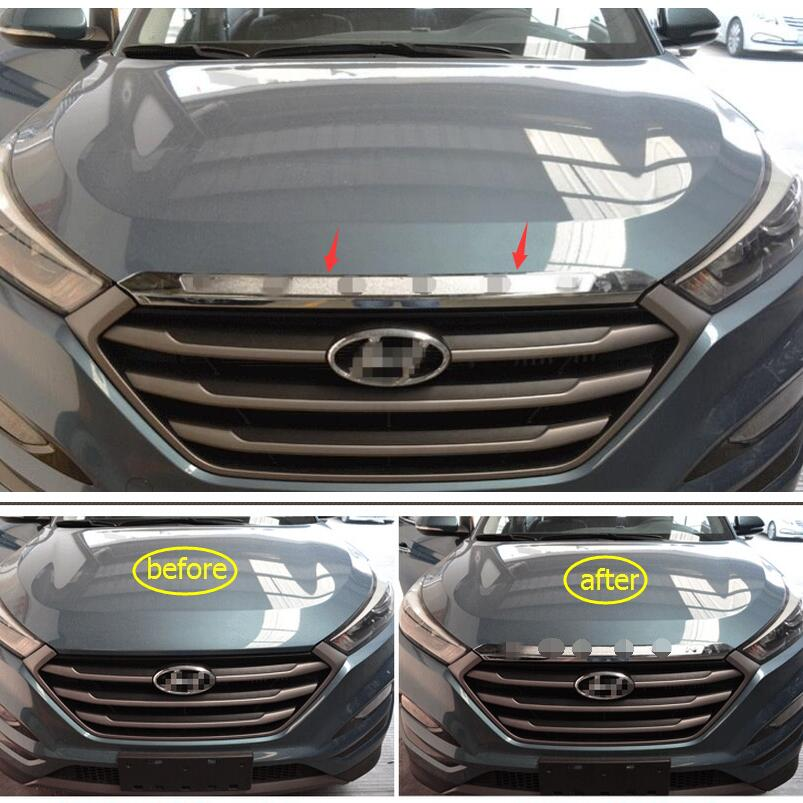 Yimaautotrims Front Face + Rear Trunk Tailgate Tail Cover Trim For Hyundai Tucson 2016 2017 2018 ABS Chrome Protection Styling