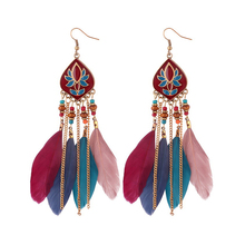 Nickle Free Bohemian Owl Feather Drop Earrings Vintage Beaded Fashion Tassel Alloy Acrylic Pendant for Women