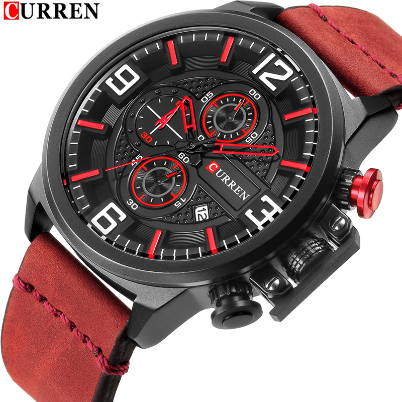 CURREN 8278 Sport Watch Top Brand Luxury Date Leather Strap Band Chronograph Analog Quartz Wrist Watches Relogio Male Clock men black watch chronograph casual quartz wrist watches top luxury brand date leather strap clock male sport shock fashion gift