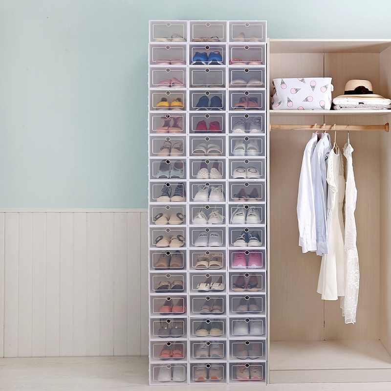 Caixa de plástico transparente dobrável, caixa empilhável para sapatos, gavetas, organizador, caixa de armazenamento para sapatos, uso doméstico