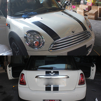 Hood Trunk Car Sticker And Decals Lines Customization For BMW MINI Cooper S Hatchback R56 2007
