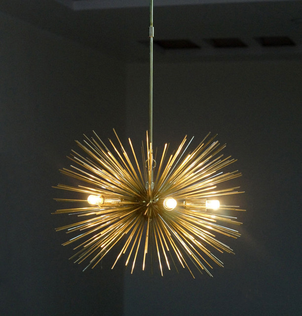 Mid Century 5 Bulbs Gold Brass Sphere Urchin Chandelier Light Fixture Free Shipping
