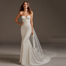 2019 Satin Mermaid Wedding Dresses Lace Tail Strapless Trumpet Gowns Backless Bride Dress Sleeveless vestido novia