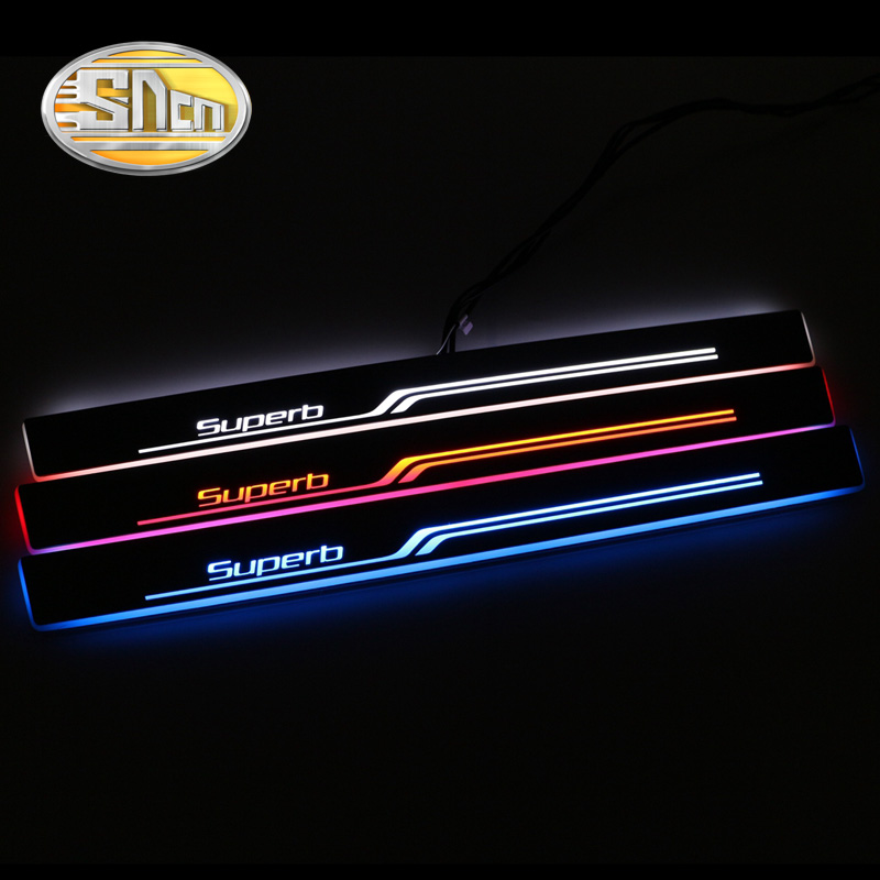 SNCN Waterproof Acrylic Moving LED Welcome Pedal Car Scuff Plate Pedal Door Sill Pathway Light For Skoda Superb 2016 2017