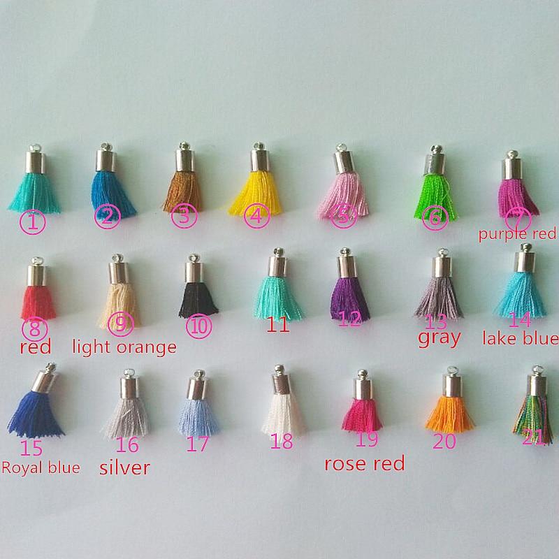 200pcs lot wholesale 20mm multi small Tassels with silver cap Cotton Charms Pendant silk tassels jewelry