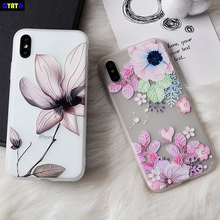 Cyato Case For iPhone X 7 6 8 6s Plus 5 5s SE Cute Soft Silicone Floral Patterned Cases Funda