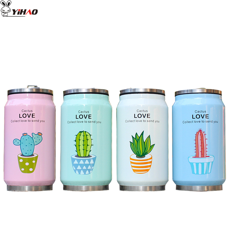 YIHAO 350ML High Quality Hot Sale Vacuum Cans Stainless Steel Mug Child Cartoon Creative Coke Straw Cup