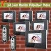 High Quality 7 Lcd Video Door Phone 2 Camera 6 Monitor Kit Doorbell Camera Intercom Monitors