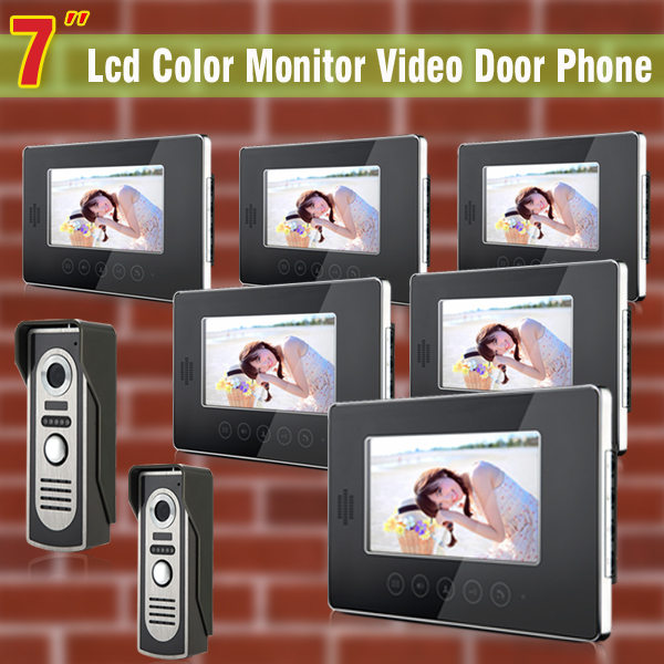 High quality 7″ lcd video door phone 2 camera + 6 monitor kit doorbell camera intercom monitors video intercom door bell phone