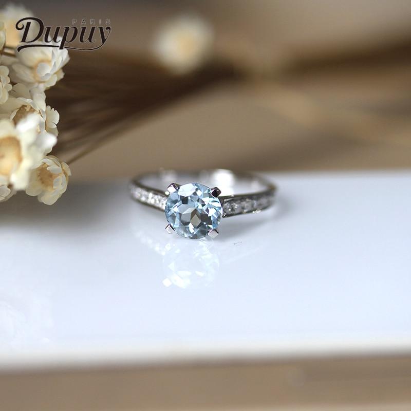DUPUY 14k Rose Gold Rings 6.5mm 1.0ct Round Cutting Aquamarine Rings Classic 0.2ct Diamond Engagement Wedding Rings D180033