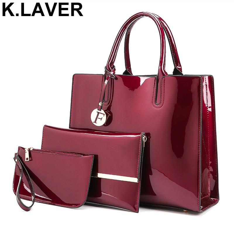 K.LAVER 3 Pcs/Set Women PU Leather Cross body Messenger Shoulder Composite Bags Handbag Ladies Hand Bag Sac a Main Purses Totes