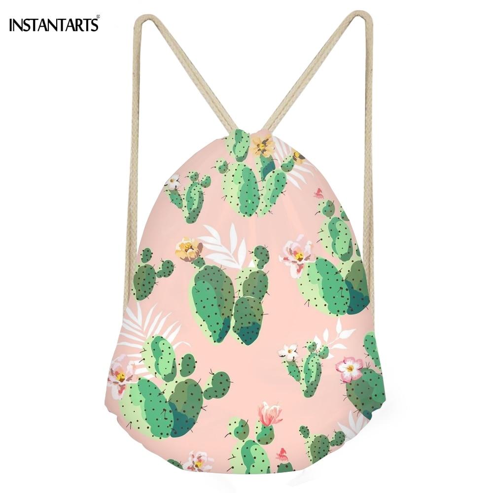 INSTANTARTS Fashion Plant Cactus Print Girls Drawstring Bags Multifuction Storage Backpacks Softback Pink Women Travel Beach Bag