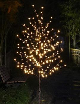 HUSUYUHU 1.5 متر الكرز زهر ضوء جذوع أشجار المناظر الطبيعية الدافئة الأبيض الزفاف Luminaria الإضاءة في الهواء الطلق مصباح العام الجديد للماء