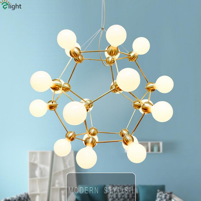 Post Modern Villa Led Geometric Atomic Pendant Chandelier Plated Gold Metal Frosted Gl Shades Lighting