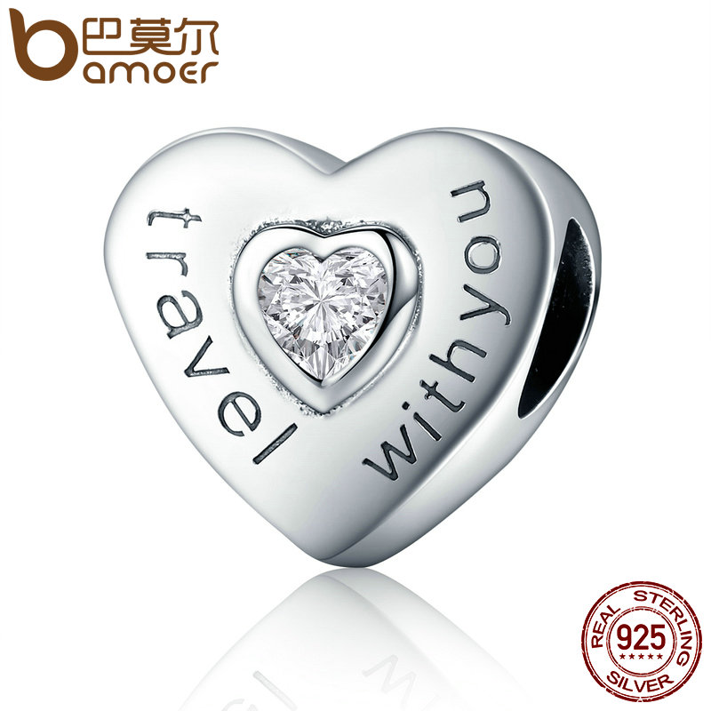 BAMOER Real 100% 925 Sterling Silver Travel with You Heart Shape Charms Beads fit Women Bracelets Jewelry Making SCC431
