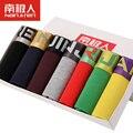 7 piezas/lote nuevo 2016 sexy super gran tamaño mens underwear U Convex boxer corto Regalo de Lujo Cinturón Transpirable Shorts L ~ 3XL caja