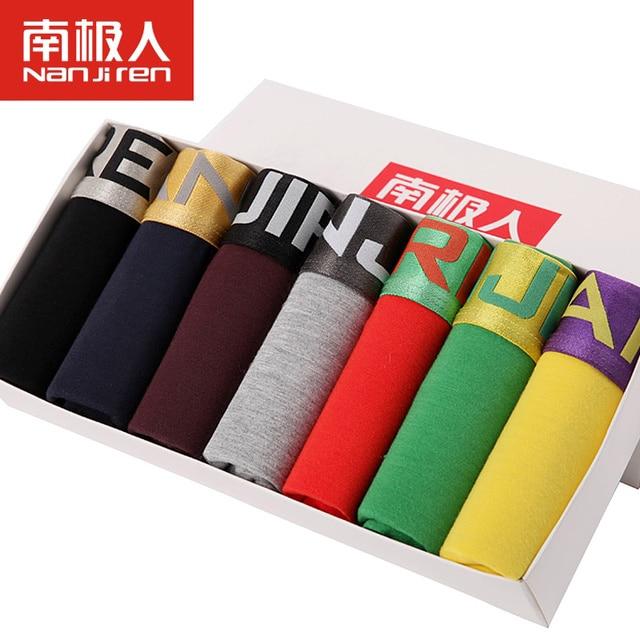 7Pcs/lot Brand New Sexy Super Large Size Mens Underwear U Convex boxer short soft Luxury Breathable Belt Shorts L~6XL Gift Box