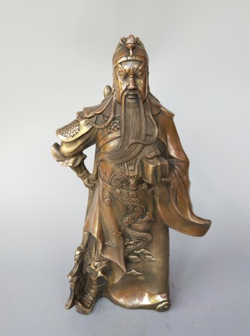 Chinese pure brass Wushu god of wealth Guan Gong Buddha statueChinese pure brass Wushu god of wealth Guan Gong Buddha statue