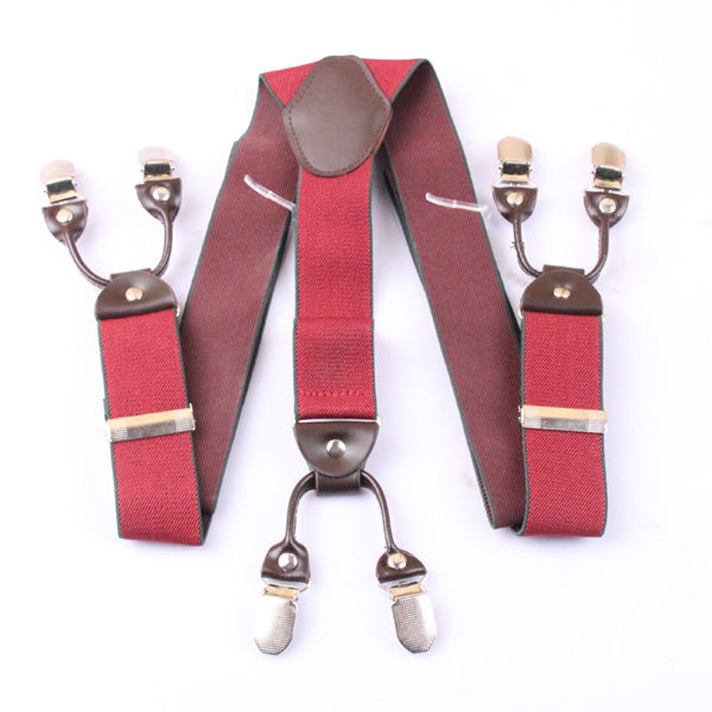 GUCHOL Boys Suspenders Bow Tie Set Strengthen 4 Clip Leather for Kids Adjustable Length Pants Accessories