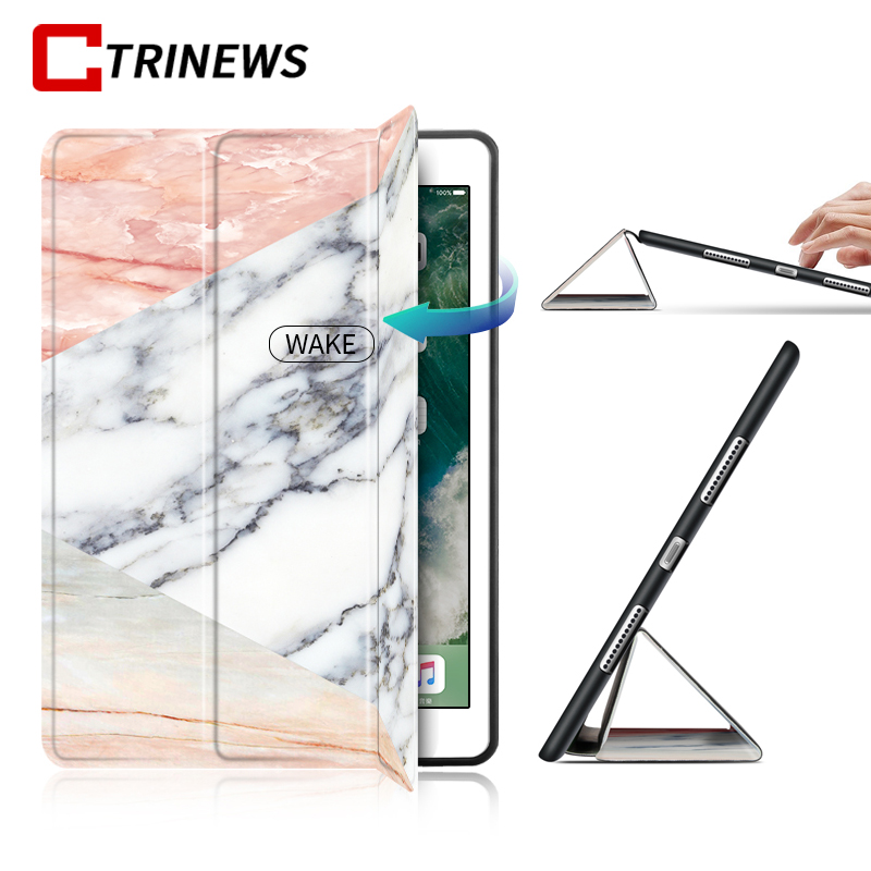 Smart Flip Case For Apple iPad Pro 9.7 Marble Stand PU Leather + Soft Silicone TPU Back Cover For iPad Pro 9.7 inch Tablet Case nice soft silicone back magnetic smart pu leather case for apple 2017 ipad air 1 cover new slim thin flip tpu protective case