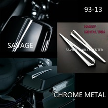 CHROME SLOTTED SADDLEBAG LID ACCENTS HARLEY TOURING BIKES 93 2013 PARTS ELECTRA GLIDE STREET GLIDE