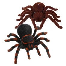 Halloween Remote Control Spider Soft Scary Plush Creepy Infrared RC Tarantula Kid Gift Toy Gift rc scolopendra infrared remote control centipede toy