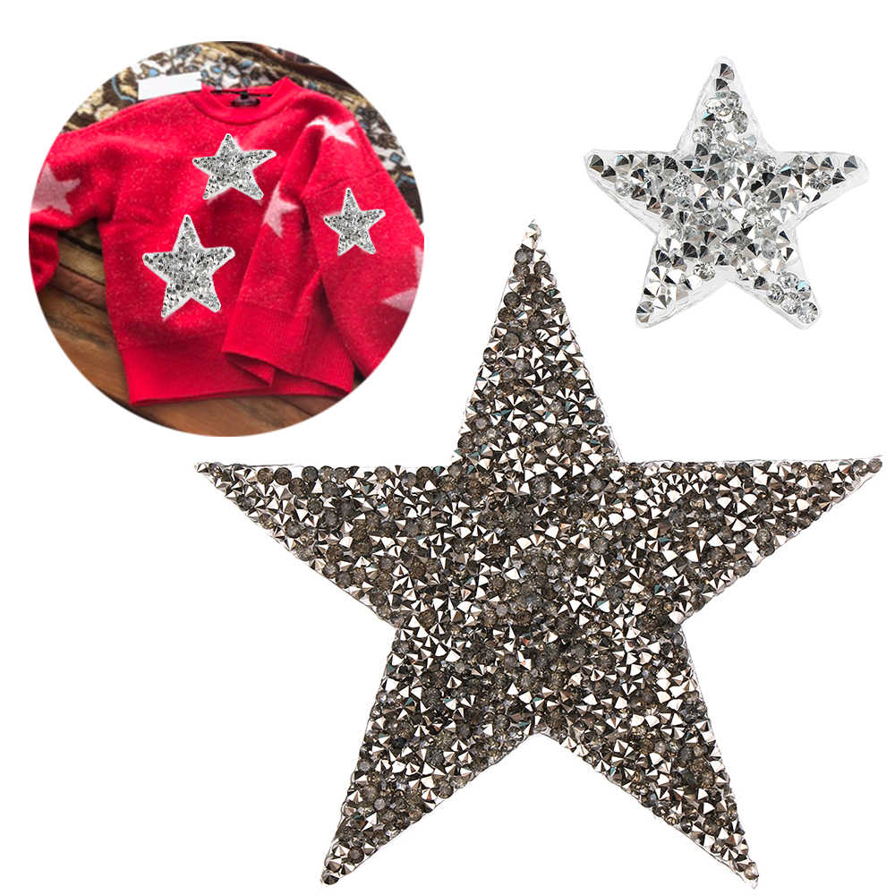 NEW Multi Sizes Crystal Rhinestone Star Patches DIY Motif Iron on Patches  Applique For Heat Transfer 9c69a76b02f2