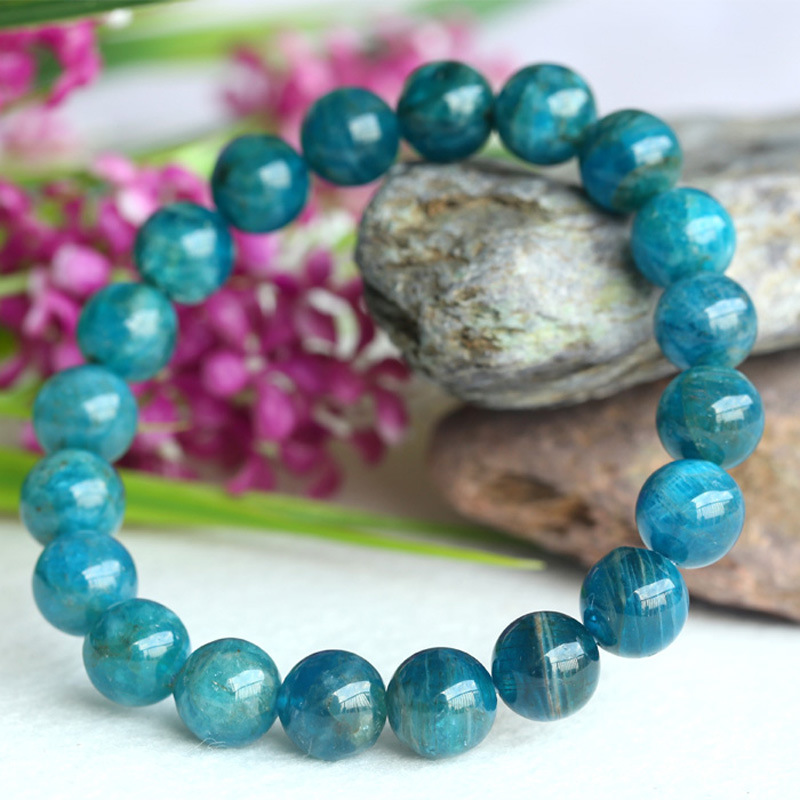 Discount Wholesale Natural Green Blue Apatite Crystal Stretch Finish Bracelet Round Beads 10mm 04139 natural green phantom crystal 10mm semi everlast crystal beads diy bracelets 40 cm string