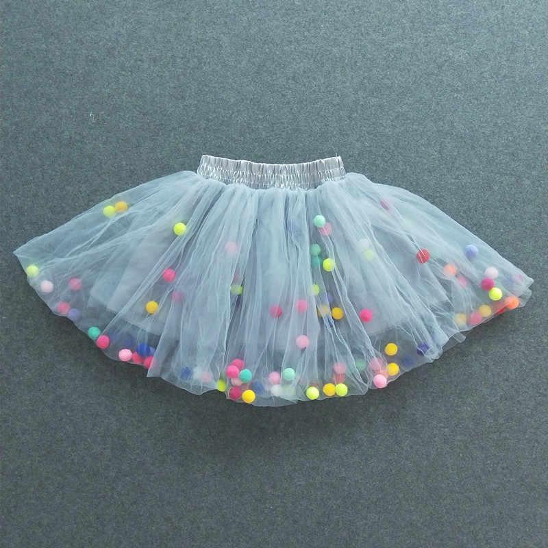 9ce3e0fa8 Nuevo Bebé niñas Tutu faldas niños elástico cintura Pettiskirt princesa  Tulle falda colorida Pompom mini faldas niños ropa