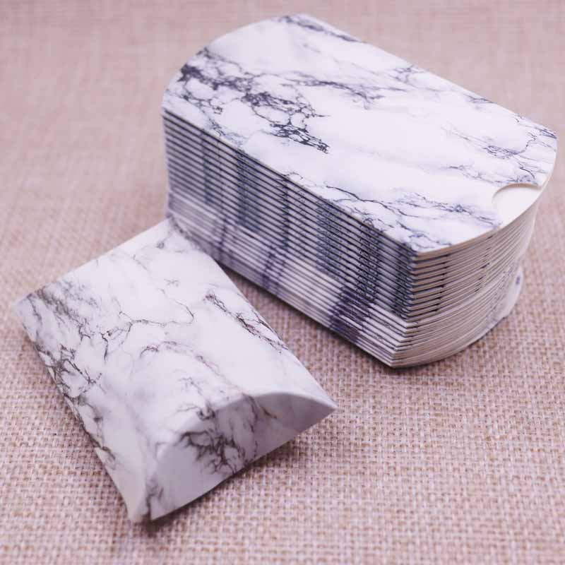 50pcs 2019New Marble Style Box Anniversary Gift Box Wedding Present Flamingo Design Box Paper Pillow Cardboard Jewelry Packing