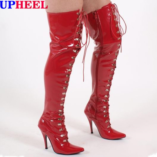 ce6afb831e4 UPHEEL extreme high heel 12cm stiletto heel red patent pu sexy fetish women thigh  high boots fashion lace up over the knee boots