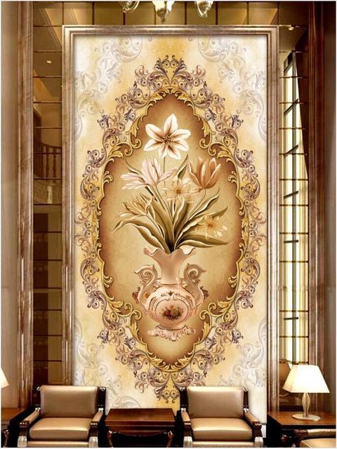 Custom mural photo 3d wallpaper European high end vase flower porch ...